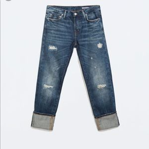 ZARA Relaxed Fit Distressed Jeans